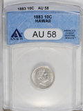 Coins of Hawaii: , 1883 10C Hawaii Ten Cents AU58 ANACS. NGC Census: (27/87). PCGSPopulation (23/112). Mintage: 250,000. (#10979)...
