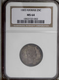 Coins of Hawaii: , 1883 25C Hawaii Quarter MS64 NGC. NGC Census: (147/156). PCGS Population (245/173). Mintage: 500,000. (#10987)...