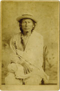 """Photography:Cabinet Photos, L.A. FURLONG CABINET PHOTOGRAPH OF CHIEF BULL THUNDER. Medicine man Bull Thunder is pictured in this 4"""" x 6"""" sepia cabinet c... (Total: 1 Item)"""