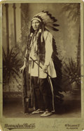 """Photography:Cabinet Photos, VERY RARE FULL-LENGTH CABINET IMAGE OF CHIEF KICKING BEAR. This 4""""x 5½"""" sepia photograph of Chief Kicking Bear was taken by...(Total: 1 Item)"""