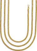 Estate Jewelry:Necklaces, Gold Necklace. The 18k yellow gold fancy link necklace weighs 83.00grams. . Length: 78 inches...