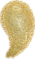Estate Jewelry:Brooches - Pins, Gold Clip-Brooch. The domed 18k yellow gold brooch has a heavily textured surface. A clip mechanism completes the reverse....