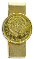 Estate Jewelry:Other , Mexican Gold Coin, Gold Money Clip. The 14k yellow gold money clip features a $20 Mexican Pesos gold coin. Gross weight 3...