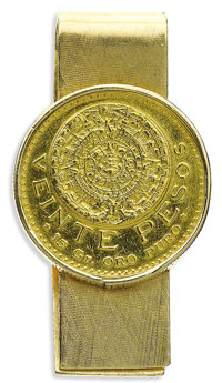 Mexican Gold Coin, Gold Money Clip  The 14k yellow gold money clip features a $20 Mexican Pesos gold coin. Gross weight...