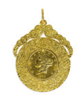 Estate Jewelry:Brooches - Pins, Gold Coin, Gold Pendant. The pendant features a U.S. $20 Liberty gold coin, dated 1904, set within an 18k yellow gold orna...