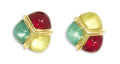 Estate Jewelry:Earrings, Multi-Colored Glass, Gold EarringsThe triangular-shaped earringsfeature red, green and yellow glass orbs applied on 18k yel...