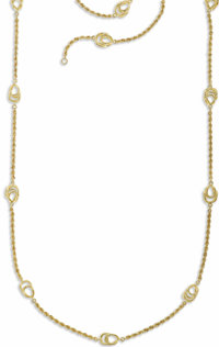 Gold Necklace  The 14k yellow gold chain features rope chain alternating with open wire fancy links. Gross weight 43.60...