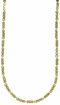 Estate Jewelry:Necklaces, Gold Necklace. The 14k gold necklace features alternatingrectangle-shaped links having cut-out Greek Key designs and text...