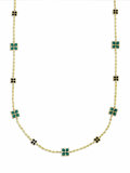 Estate Jewelry:Necklaces, Malachite, Black Onyx, Gold Necklace. The necklace features malachite tablets measuring 14.00 x 14.00 x 2.90 mm, alternati...