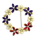 Estate Jewelry:Brooches - Pins, Diamond, Enamel, Gold Brooch. The circle brooch has the appearance of a floral wreath featuring full-cut diamonds weighing...