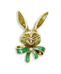 Estate Jewelry:Brooches - Pins, Diamond, Enamel, Gold Brooch. The brooch, designed as a cartoonish bunny, features a single-cut diamond, accented by green...