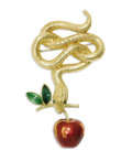 Estate Jewelry:Brooches - Pins, Enamel, Gold Brooch. The brooch is designed as a coiled serpent fashioned in 18k gold, suspending a dangling apple having ...