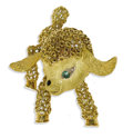 Estate Jewelry:Brooches - Pins, Diamond, Emerald, Enamel, Gold Brooch. The brooch, designed as a lamb, features a round-shaped emerald eye with single-cut...