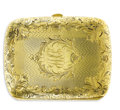 Estate Jewelry:Other , Art Deco Gold Card Case, Battin & Co.. The curved 14k yellowgold calling card case features a center panel bearing the mo...