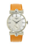 Timepieces:Wristwatch, Longines, Midsize Diamond, White Gold Leather Strap Wristwatch,Circa 1935. Case: 29 mm, 14k white gold, lugs are set with...