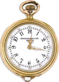 Timepieces:Pendant, Patek Philippe, Lady's Gold Openface Pendant Watch, Circa 1901. Case: 27 mm, 18k yellow gold, No. 111412-J26.. Dial: white...