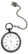 Estate Jewelry:Other , Swiss Silver Key Wind Openface Pocket Watch with Metal Link Chain,Circa 1891. Case: 53 mm, Lion & Anchor English hallmark...