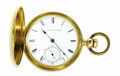 Timepieces:Pocket (pre 1900), Howard Gold Key Wind & Set Hunting Case Pocket Watch, circa1870. Case: 55 mm, hinged, 18k yellow gold circular beaded edg...