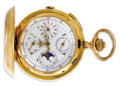 Estate Jewelry:Other , Swiss Gold Chronograph Repeater Calender Moonphase Hunting CasePocket Watch, Circa 1890. Case: 54 mm, 18k yellow gold, ca...