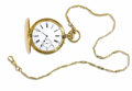 Estate Jewelry:Other , J.F. Rantte, Swiss, Gold Hunting Case Pocket Watch and Chain, Circa1890. Case:45 mm, 18k yellow gold, French Hallmark, ma...