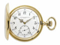 Timepieces:Pocket (post 1900), Vacheron & Constantin, Gold Hunting Case Pocket Watch, Circa1908. Case: 46 mm, 18k yellow gold, case No. 86898-33.. Dial:...
