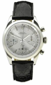 Rolex, Men's Stainless Steel Manual Wind Chronograph, Leather Strap Wristwatch, Circa 1966  Case: 36 mm, stainless steel...