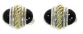 Estate Jewelry:Cufflinks, Gentleman's Black Onyx, Gold, Sterling Silver Cuff Links, DavidYurman. Each link features black onyx cabochons, bezel set...(Total: 2 Pieces)