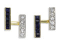 Estate Jewelry:Cufflinks, Gentleman's Diamond, Sapphire, Platinum-Topped Gold Cuff Links.Each link features a line of full-cut diamonds, set in pl...(Total: 2 Pieces)