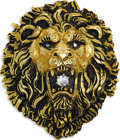 Estate Jewelry:Brooches - Pins, Diamond, Gold Pendant. The three dimensional pendant, designed inthe form of a lion head, features full-cut diamonds weig...