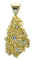 Estate Jewelry:Pendants and Lockets, Diamond, Gold Pendant. The nugget style pendant features full andsingle-cut diamonds weighing a total of approximately 0....