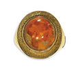 Estate Jewelry:Rings, Gentleman's Fire Opal, Gold Ring. The ring centers an oval-shapedfire opal measuring 14.40 x 13.60 x 7.40 mm and weighing...
