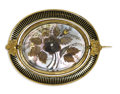 Estate Jewelry:Brooches - Pins, Victorian Mother-of-Pearl, Hair, Seed Pearl, Enamel, Gold Brooch. The pictorial mourning brooch features a floral and foli...