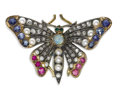 Estate Jewelry:Brooches - Pins, Victorian Diamond, Multi-Stone, Seed Pearl, Gold, Silver Brooch.The brooch, designed as a butterfly, features round-cut r...