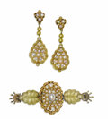 Estate Jewelry:Brooches - Pins, Victorian Seed Pearl, Gold Jewelry Suite. The suite includes: onebar brooch featuring seed pearls, set in 18k yellow gold... (Total:3 Pieces)
