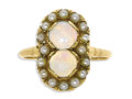 Estate Jewelry:Rings, Opal, Seed Pearl, Gold Ring. The ring features opal cabochonsmeasuring 5.50 x 2.00 mm and weighing a total of approximate...