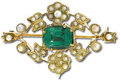 Estate Jewelry:Brooches - Pins, Victorian Tsavorite Garnet, Seed Pearl, Gold Brooch. The broochcenters one cushion-cut tsavorite garnet measuring approxi...
