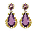 Estate Jewelry:Earrings, Amethyst, Gold Earrings. Each earring features a pear-shapedamethyst measuring 28.00 x 15.00 x 7.75 mm, surmounted by an ...