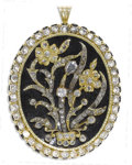 Estate Jewelry:Brooches - Pins, Victorian Diamond, Enamel, Gold Pendant Brooch. The mourning piecefeatures European, single and rose-cut diamonds weighin...