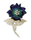 Estate Jewelry:Brooches - Pins, Diamond, Gold, Enamel Brooch, Tiffany & Co.. The flower features blue and green enamel applied on 14k yellow gold, enhanc...