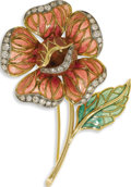 Estate Jewelry:Brooches - Pins, Diamond, Plique-a-Jour Enamel, Gold Brooch. The pansy features plique-a-jour enameled panels, enhanced by full-cut diamond...