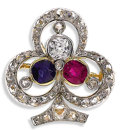 Estate Jewelry:Brooches - Pins, Antique Ruby, Sapphire, Diamond, Platinum-Topped Gold Brooch. Thetref-foil brooch features a cushion-shaped ruby, a Europ...