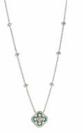 Estate Jewelry:Necklaces, Diamond, Emerald, Platinum, Gold Necklace. The necklace is highlighted by a full-cut diamond weighing approximately 0.30 c...