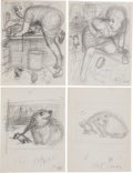 Books:Children's Books, Garth Williams. Ten Preliminary Drawings for Harry Cat's PetPuppy by George Selden, 1973. Pencil on paper. ... (Total: 10Items)