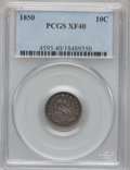 Seated Dimes: , 1850 10C XF40 PCGS. PCGS Population (7/110). NGC Census: (1/113).Mintage: 1,931,500. Numismedia Wsl. Price for problem fre...