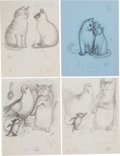 Books:Children's Books, Garth Williams. Eight Preliminary Drawings for Harry Cat's PetPuppy by George Selden, 1973. Pencil on paper... (Total: 8Items)