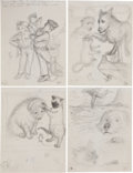 Books:Children's Books, Garth Williams. Nine Preliminary Drawings for Harry Cat's PetPuppy by George Selden, 1973. Pencil on paper.... (Total: 9Items)