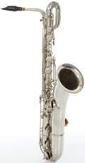 Musical Instruments:Horns & Wind Instruments, Circa 1920 C.G. Conn Silver Baritone Saxophone, #51361....