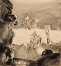 Mainstream Illustration, JOHN AUGUST GROTH (American, 1902-1988). Round 3. Pen andwatercolor on board. 10 x 9 in.. Not signed. From theEsta...