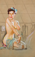 Pin-up and Glamour Art, KNUTE O. MUNSON (American, 20th Century). Seated Pin-Up.Pastel and charcoal on board. 22.25 x 20.25 in.. Not signed. ...
