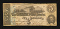 Confederate Notes:1862 Issues, Partial Back to Face Offset T53 $5 1862.. ...